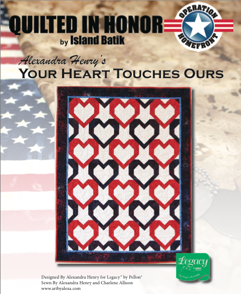 """Our Heart Touches Yours"" Free Pattern designed by Alexandra Henry from Island Batik"