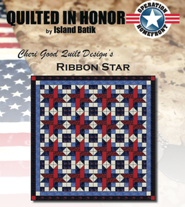 """Ribbon Star"" Free Pattern designed by Cheri Good Quilt Design from Island Batik"